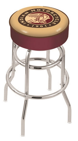 "30"" L7C1 - 4"" Indian Motorcycle Cushion Seat with Double-Ring Chrome Base Swivel Bar Stool by Holland Bar Stool Company"