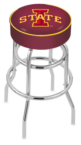 "ISU Cyclones 30"" L7C1 - 4"" Iowa State Cushion Seat with Double-Ring Chrome Base Swivel Bar Stool by Holland Bar Stool Company"