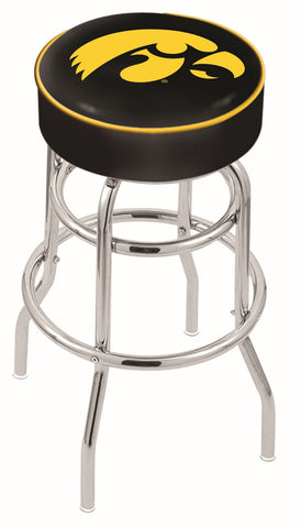 "Iowa Hawkeyes 30"" L7C1 - 4"" Iowa Cushion Seat with Double-Ring Chrome Base Swivel Bar Stool by Holland Bar Stool Company"