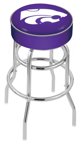 "KSU Wildcats 30"" L7C1 - 4"" Kansas State Cushion Seat with Double-Ring Chrome Base Swivel Bar Stool by Holland Bar Stool Company"