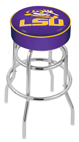 "LSU Tigers 30"" L7C1 - 4"" Louisiana State Cushion Seat with Double-Ring Chrome Base Swivel Bar Stool by Holland Bar Stool Company"