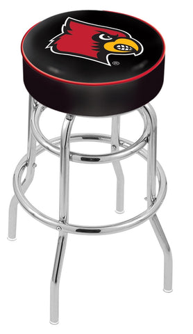 "UofL Cardinals 30"" L7C1 - 4"" Louisville Cushion Seat with Double-Ring Chrome Base Swivel Bar Stool by Holland Bar Stool Company"