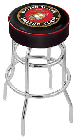 "30"" L7C1 - 4"" U.S. Marines Cushion Seat with Double-Ring Chrome Base Swivel Bar Stool by Holland Bar Stool Company"
