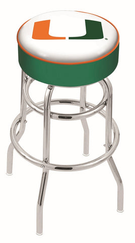 "Miami Hurricanes 30"" L7C1 - 4"" Miami (FL) Cushion Seat with Double-Ring Chrome Base Swivel Bar Stool by Holland Bar Stool Company"