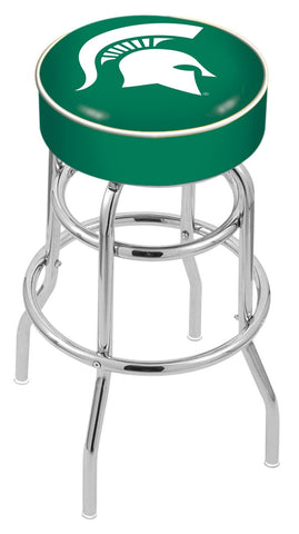 "MSU Spartans 30"" L7C1 - 4"" Michigan State Cushion Seat with Double-Ring Chrome Base Swivel Bar Stool by Holland Bar Stool Company"