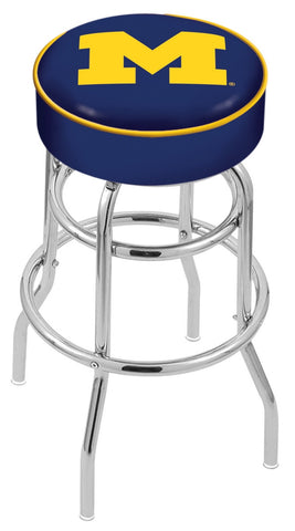 "Michigan Wolverines 30"" L7C1 - 4"" Michigan Cushion Seat with Double-Ring Chrome Base Swivel Bar Stool by Holland Bar Stool Company"