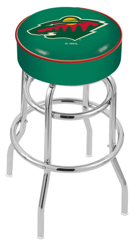"30"" L7C1 - 4"" Minnesota Wild Cushion Seat with Double-Ring Chrome Base Swivel Bar Stool by Holland Bar Stool Company"