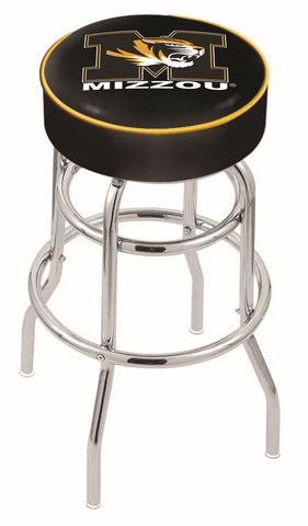 "Mizzou Tigers 30"" L7C1 - 4"" Missouri Cushion Seat with Double-Ring Chrome Base Swivel Bar Stool by Holland Bar Stool Company"