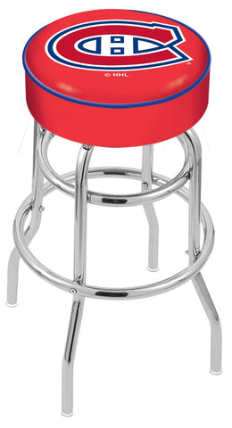 "30"" L7C1 - 4"" Montreal Canadiens Cushion Seat with Double-Ring Chrome Base Swivel Bar Stool by Holland Bar Stool Company"