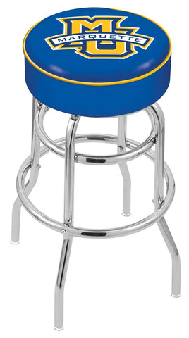 "Marquette Golden Eagles 30"" L7C1 - 4"" Marquette Cushion Seat with Double-Ring Chrome Base Swivel Bar Stool by Holland Bar Stool Company"