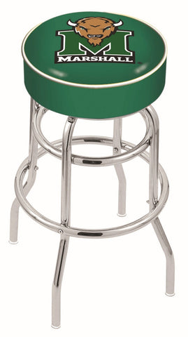 "Marshall  Thundering Herd 30"" L7C1 - 4"" Marshall Cushion Seat with Double-Ring Chrome Base Swivel Bar Stool by Holland Bar Stool Company"