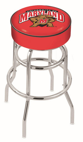 "UM Terrapins 30"" L7C1 - 4"" Maryland Cushion Seat with Double-Ring Chrome Base Swivel Bar Stool by Holland Bar Stool Company"