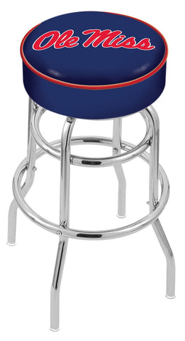"Ole Miss Rebels 30"" L7C1 - 4"" Ole' Miss Cushion Seat with Double-Ring Chrome Base Swivel Bar Stool by Holland Bar Stool Company"