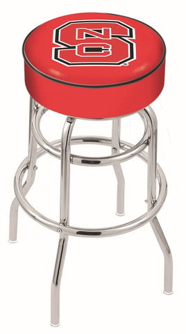 "NC State Wolfpack 30"" L7C1 - 4"" North Carolina State Cushion Seat with Double-Ring Chrome Base Swivel Bar Stool by Holland Bar Stool Company"