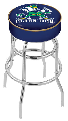 "ND Fighting Irish 30"" L7C1 - 4"" Notre Dame (Leprechaun) Cushion Seat with Double-Ring Chrome Base Swivel Bar Stool by Holland Bar Stool Company"