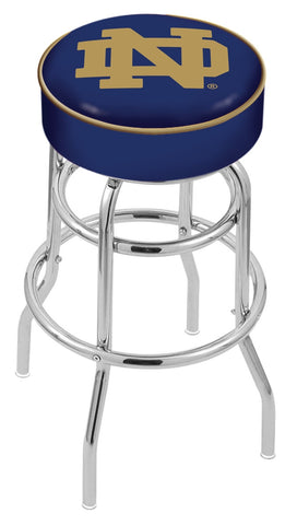 "ND Fighting Irish 30"" L7C1 - 4"" Notre Dame (ND) Cushion Seat with Double-Ring Chrome Base Swivel Bar Stool by Holland Bar Stool Company"