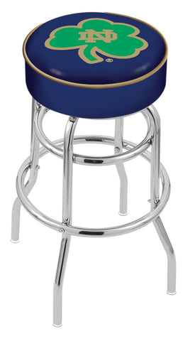 "ND Fighting Irish 30"" L7C1 - 4"" Notre Dame (Shamrock) Cushion Seat with Double-Ring Chrome Base Swivel Bar Stool by Holland Bar Stool Company"