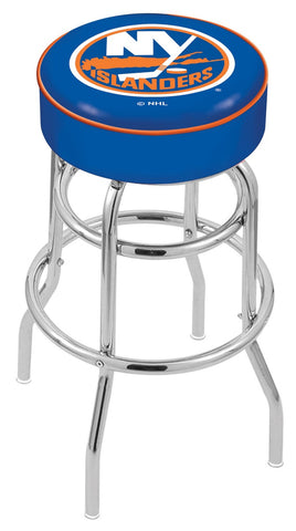 "30"" L7C1 - 4"" New York Islanders Cushion Seat with Double-Ring Chrome Base Swivel Bar Stool by Holland Bar Stool Company"