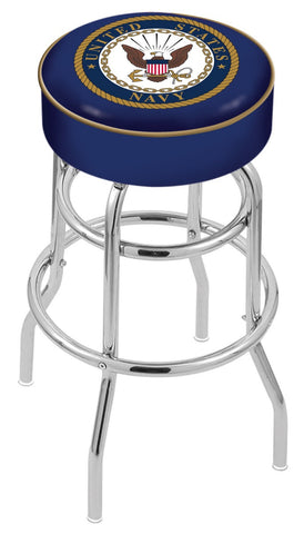 "30"" L7C1 - 4"" U.S. Navy Cushion Seat with Double-Ring Chrome Base Swivel Bar Stool by Holland Bar Stool Company"