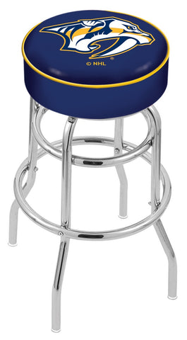 "30"" L7C1 - 4"" Nashville Predators Cushion Seat with Double-Ring Chrome Base Swivel Bar Stool by Holland Bar Stool Company"