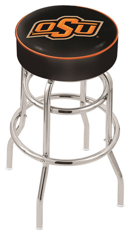"OSU Cowboys 30"" L7C1 - 4"" Oklahoma State Cushion Seat with Double-Ring Chrome Base Swivel Bar Stool by Holland Bar Stool Company"