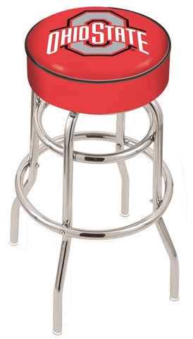 "OSU Buckeyes 30"" L7C1 - 4"" Ohio State Cushion Seat with Double-Ring Chrome Base Swivel Bar Stool by Holland Bar Stool Company"