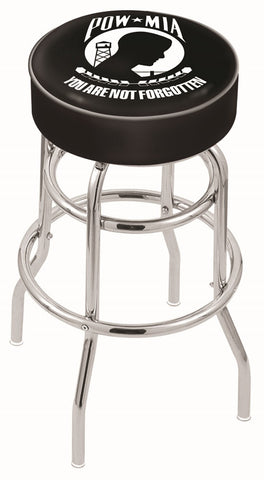 "30"" L7C1 - 4"" POW/MIA Cushion Seat with Double-Ring Chrome Base Swivel Bar Stool by Holland Bar Stool Company"