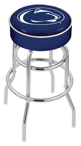 "PSU Nittany Lions 30"" L7C1 - 4"" Penn State Cushion Seat with Double-Ring Chrome Base Swivel Bar Stool by Holland Bar Stool Company"