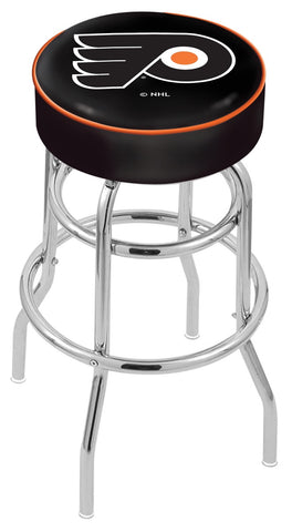 "30"" L7C1 - 4"" Philadelphia Flyers Cushion Seat with Double-Ring Chrome Base Swivel Bar Stool by Holland Bar Stool Company"
