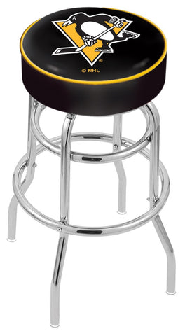 "30"" L7C1 - 4"" Pittsburgh Penguins Cushion Seat with Double-Ring Chrome Base Swivel Bar Stool by Holland Bar Stool Company"