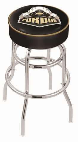 "Purdue  Boilermakers 30"" L7C1 - 4"" Purdue Cushion Seat with Double-Ring Chrome Base Swivel Bar Stool by Holland Bar Stool Company"
