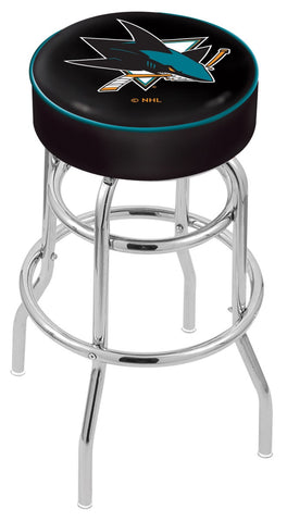"30"" L7C1 - 4"" San Jose Sharks Cushion Seat with Double-Ring Chrome Base Swivel Bar Stool by Holland Bar Stool Company"