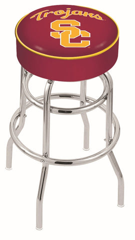 "USC Trojans 30"" L7C1 - 4"" USC Trojans Cushion Seat with Double-Ring Chrome Base Swivel Bar Stool by Holland Bar Stool Company"