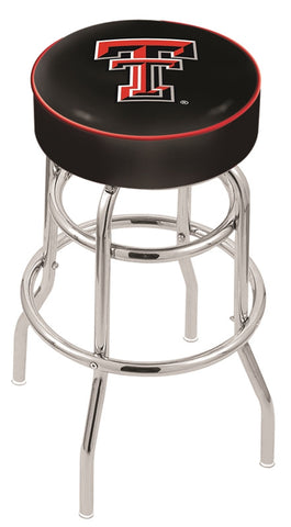 "TTU Red Raiders 30"" L7C1 - 4"" Texas Tech Cushion Seat with Double-Ring Chrome Base Swivel Bar Stool by Holland Bar Stool Company"