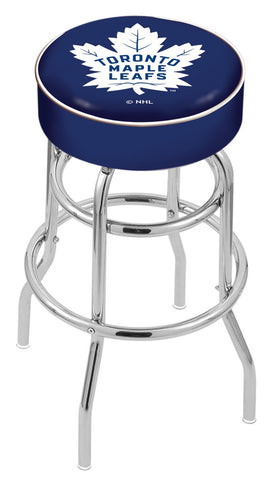 "30"" L7C1 - 4"" Toronto Maple Leafs Cushion Seat with Double-Ring Chrome Base Swivel Bar Stool by Holland Bar Stool Company"