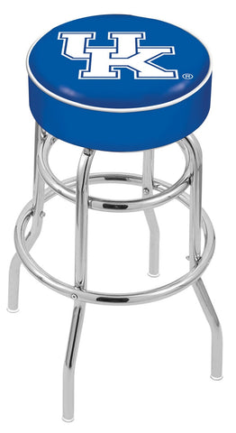 "UK Wildcats 30"" L7C1 - 4"" Kentucky ""UK"" Cushion Seat with Double-Ring Chrome Base Swivel Bar Stool by Holland Bar Stool Company"