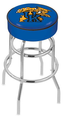 "UK Wildcats 30"" L7C1 - 4"" Kentucky ""Wildcat"" Cushion Seat with Double-Ring Chrome Base Swivel Bar Stool by Holland Bar Stool Company"