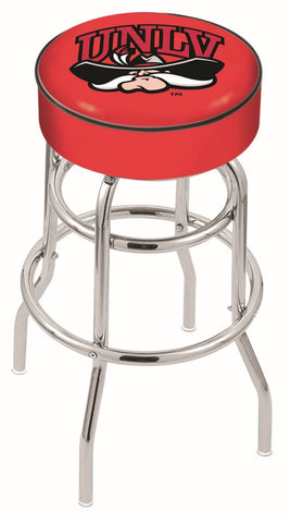 "UNLV Rebels 30"" L7C1 - 4"" UNLV Cushion Seat with Double-Ring Chrome Base Swivel Bar Stool by Holland Bar Stool Company"