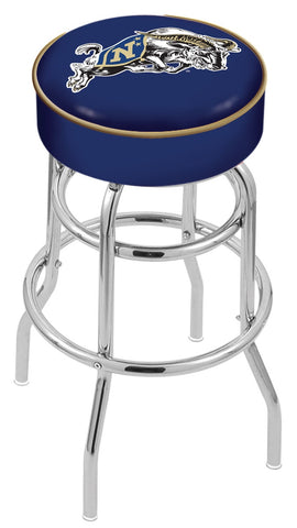 "Navy Midshipmen 30"" L7C1 - 4"" US Naval Academy (NAVY) Cushion Seat with Double-Ring Chrome Base Swivel Bar Stool by Holland Bar Stool Company"