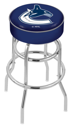 "30"" L7C1 - 4"" Vancouver Canucks Cushion Seat with Double-Ring Chrome Base Swivel Bar Stool by Holland Bar Stool Company"