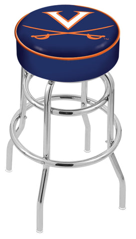 "UVA Cavaliers 30"" L7C1 - 4"" Virginia Cushion Seat with Double-Ring Chrome Base Swivel Bar Stool by Holland Bar Stool Company"