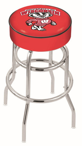 "UW Badgers 30"" L7C1 - 4"" Wisconsin ""Badger"" Cushion Seat with Double-Ring Chrome Base Swivel Bar Stool by Holland Bar Stool Company"