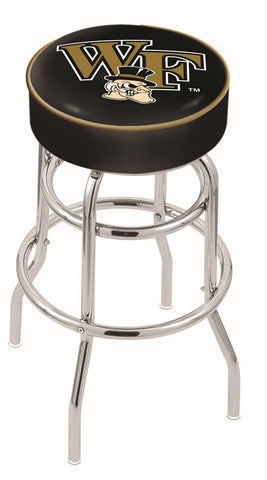"Wake Forest Demon Deacons 30"" L7C1 - 4"" Wake Forest Cushion Seat with Double-Ring Chrome Base Swivel Bar Stool by Holland Bar Stool Company"