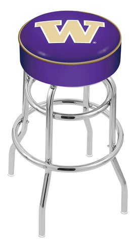 "UW Huskies 30"" L7C1 - 4"" Washington Cushion Seat with Double-Ring Chrome Base Swivel Bar Stool by Holland Bar Stool Company"