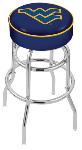 "WVU Mountaineers 30"" L7C1 - 4"" West Virginia Cushion Seat with Double-Ring Chrome Base Swivel Bar Stool by Holland Bar Stool Company"