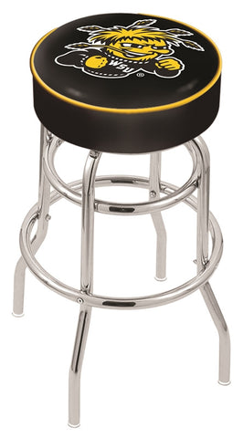 "Wichita State  Shockers 30"" L7C1 - 4"" Wichita State Cushion Seat with Double-Ring Chrome Base Swivel Bar Stool by Holland Bar Stool Company"