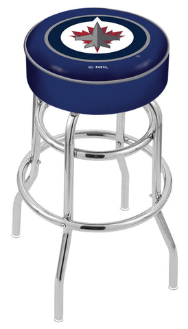 "30"" L7C1 - 4"" Winnipeg Jets Cushion Seat with Double-Ring Chrome Base Swivel Bar Stool by Holland Bar Stool Company"