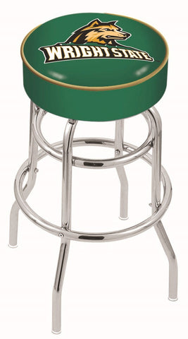 "Wright State  Raiders 30"" L7C1 - 4"" Wright State Cushion Seat with Double-Ring Chrome Base Swivel Bar Stool by Holland Bar Stool Company"