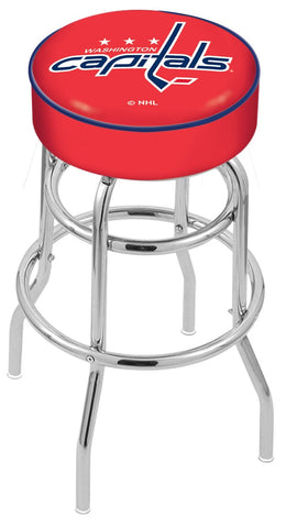 "30"" L7C1 - 4"" Washington Capitals Cushion Seat with Double-Ring Chrome Base Swivel Bar Stool by Holland Bar Stool Company"