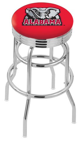 "Bama Crimson Tide 30"" L7C3C - Chrome Double Ring Alabama Swivel Bar Stool with 2.5"" Ribbed Accent Ring by Holland Bar Stool Company"